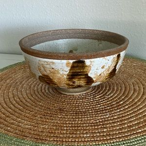 Vintage Boho Chic Footed pottery bowl